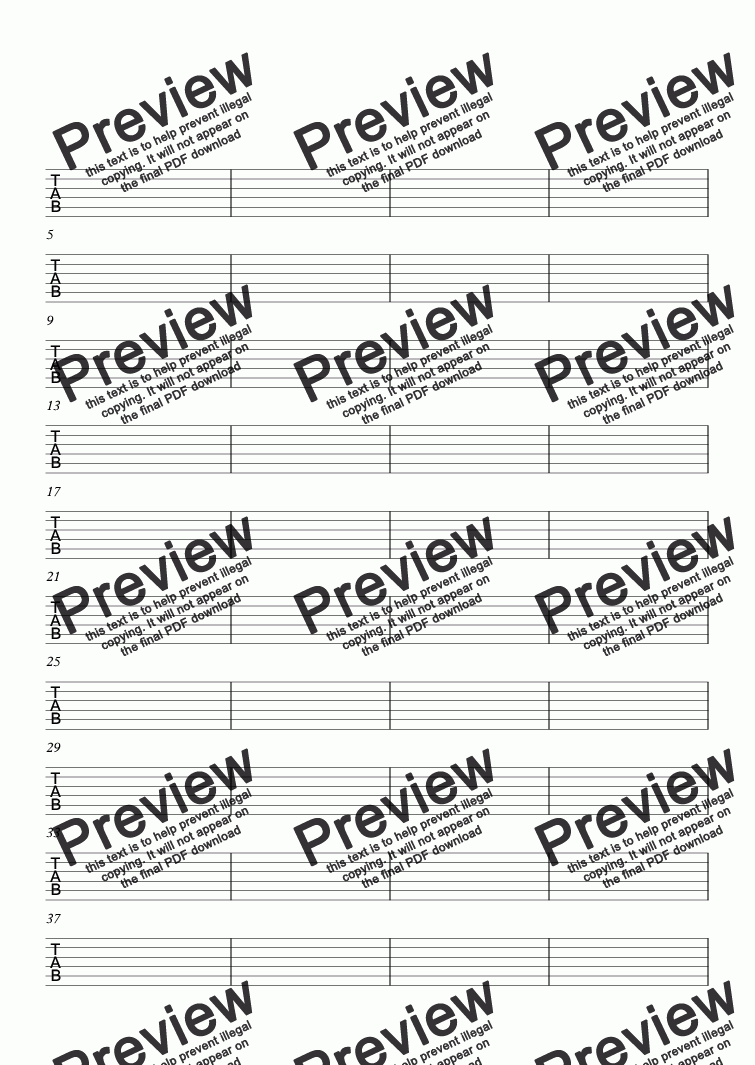 BLANK MANUSCRIPT PAPER FOR GUITAR TAB for Solo instrument (Semi-acoustic  Guitar, standard tuning (no rhythms) [tab]) by Louise Beesley - Sheet Music