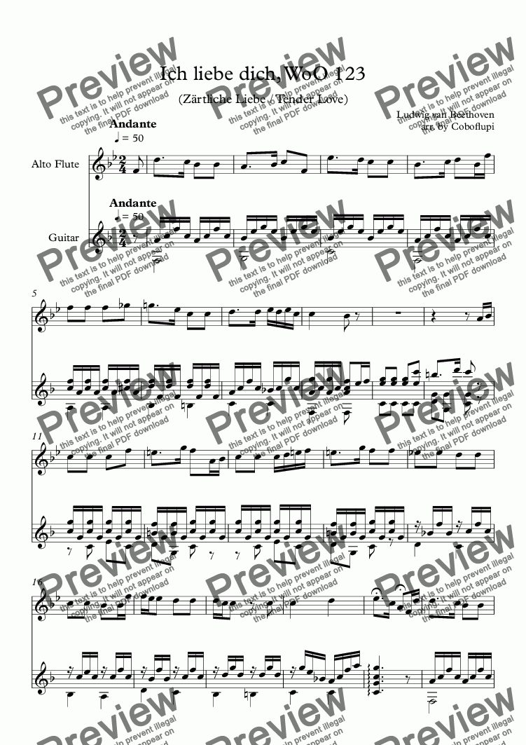 page one of Ich liebe dich, WoO 123 (Alto Flute & Guitar)