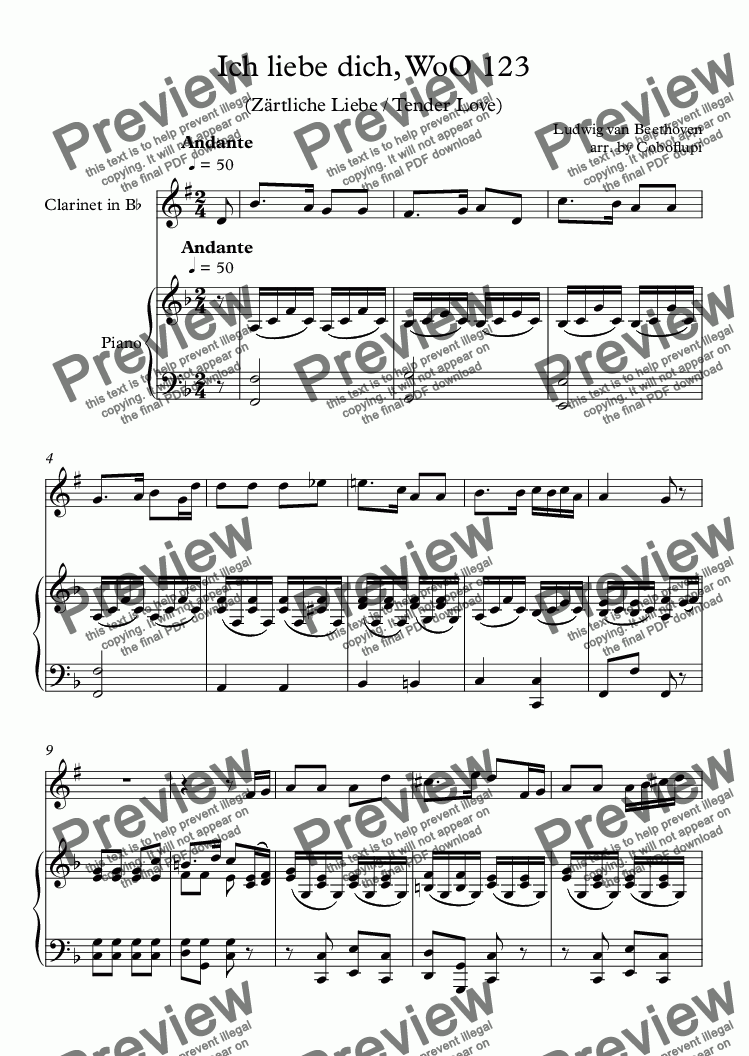 page one of Ich liebe dich, WoO 123 (Clarinet & Piano)