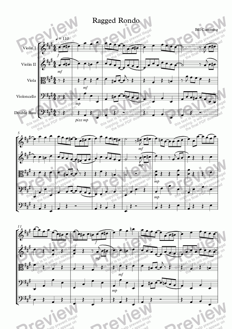 "page one of ""Ragged Rondo"" for string orchestra"