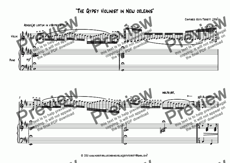 page one of The Gypsy Violinist in New Orleans ( B minor)