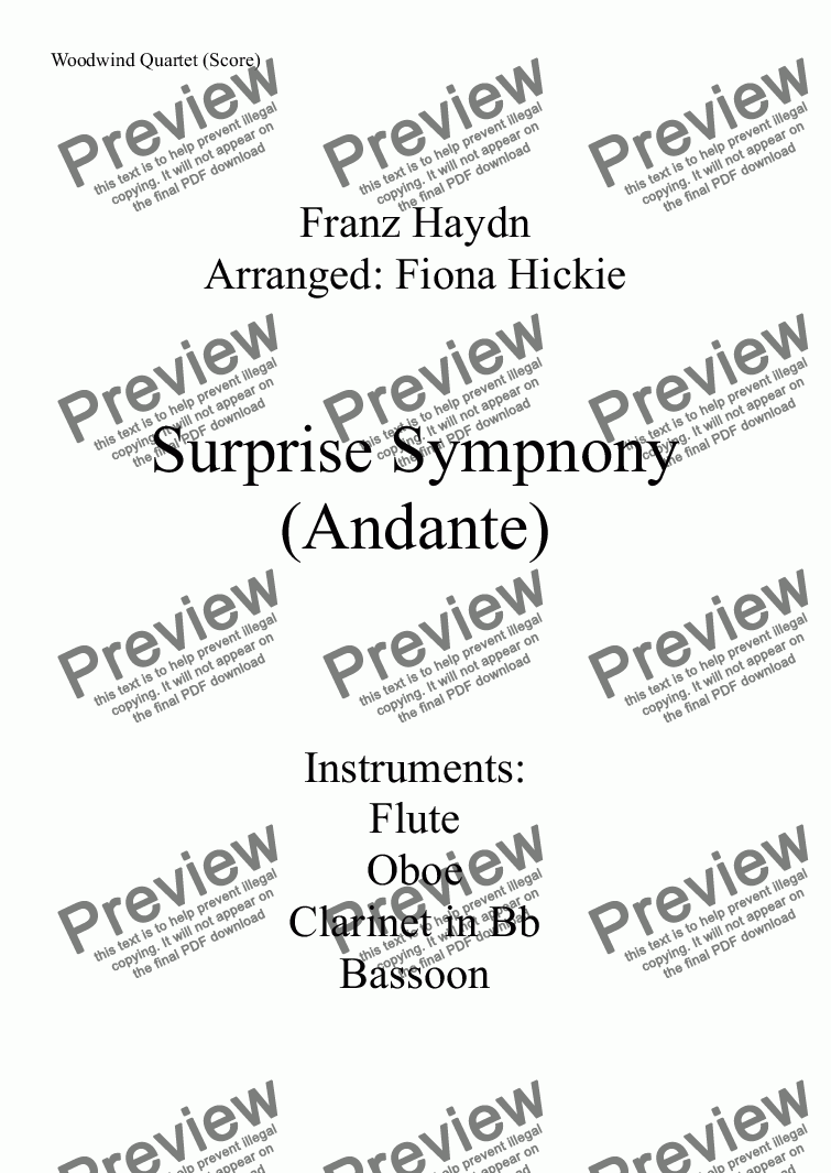 page one of Surprise Symphony: Andante