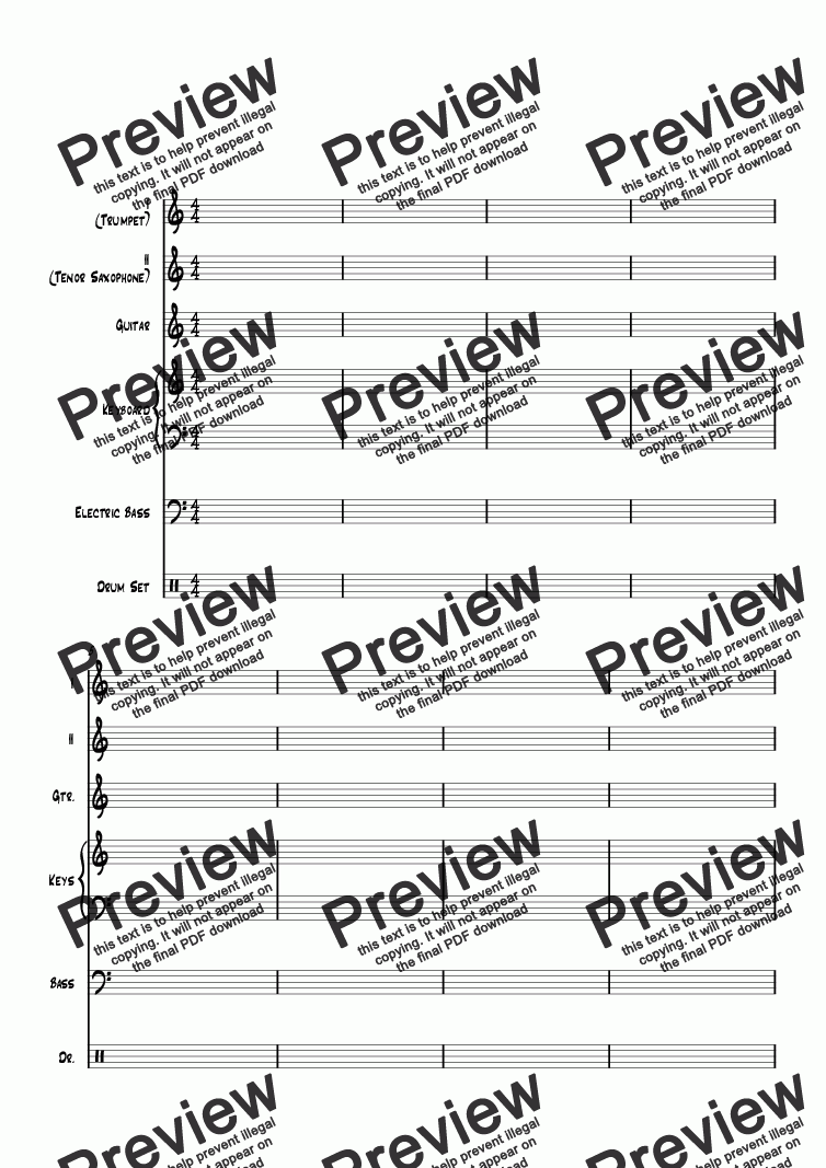 page one of BLANK MANUSCRIPT PAPER JAZZ COMBO, 2 HORNS