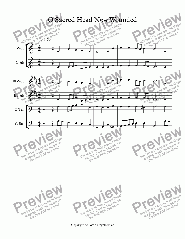 O Sacred Head Now Wounded For Brass Quartet By Hassler Sheet Music Pdf File To Download
