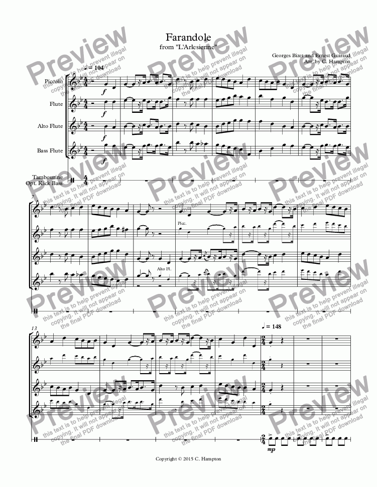 "page one of Farandole from ""L'Arslesienne"" for flute ensemble"