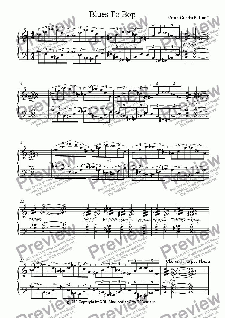 page one of Blues To Bop (Jazz)