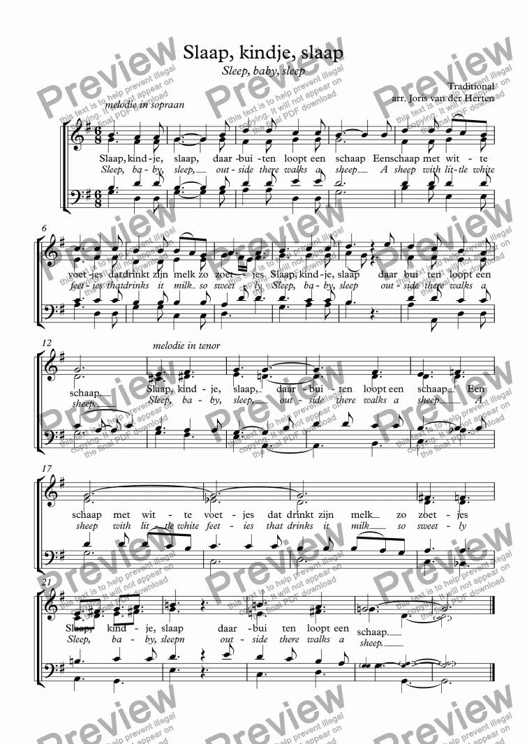 Slaap Kindje Slaap Daar Buiten Loopt.Slaap Kindje Slaap Dutch Lullaby Choir Satb Download Pdf File