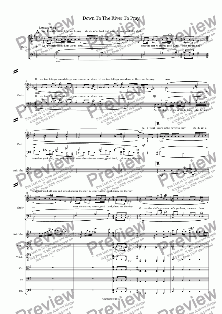 page one of Down To The River To Pray (choir SATB + string orchestra + violin)
