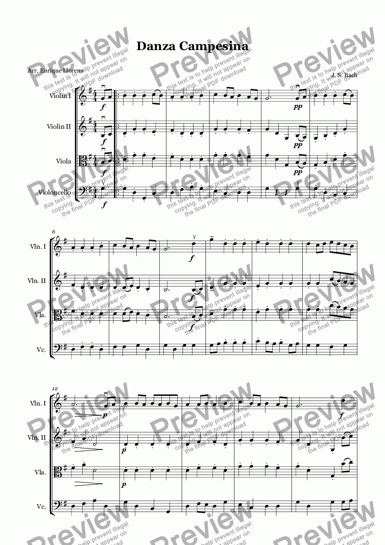 page one of Peasant Cantata (arr. Junior String Orchestra)