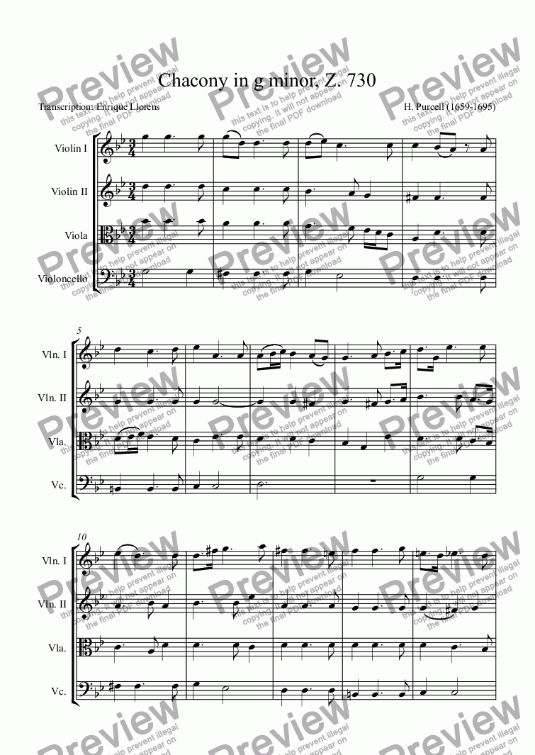 page one of Chacony in g minor, Z. 730