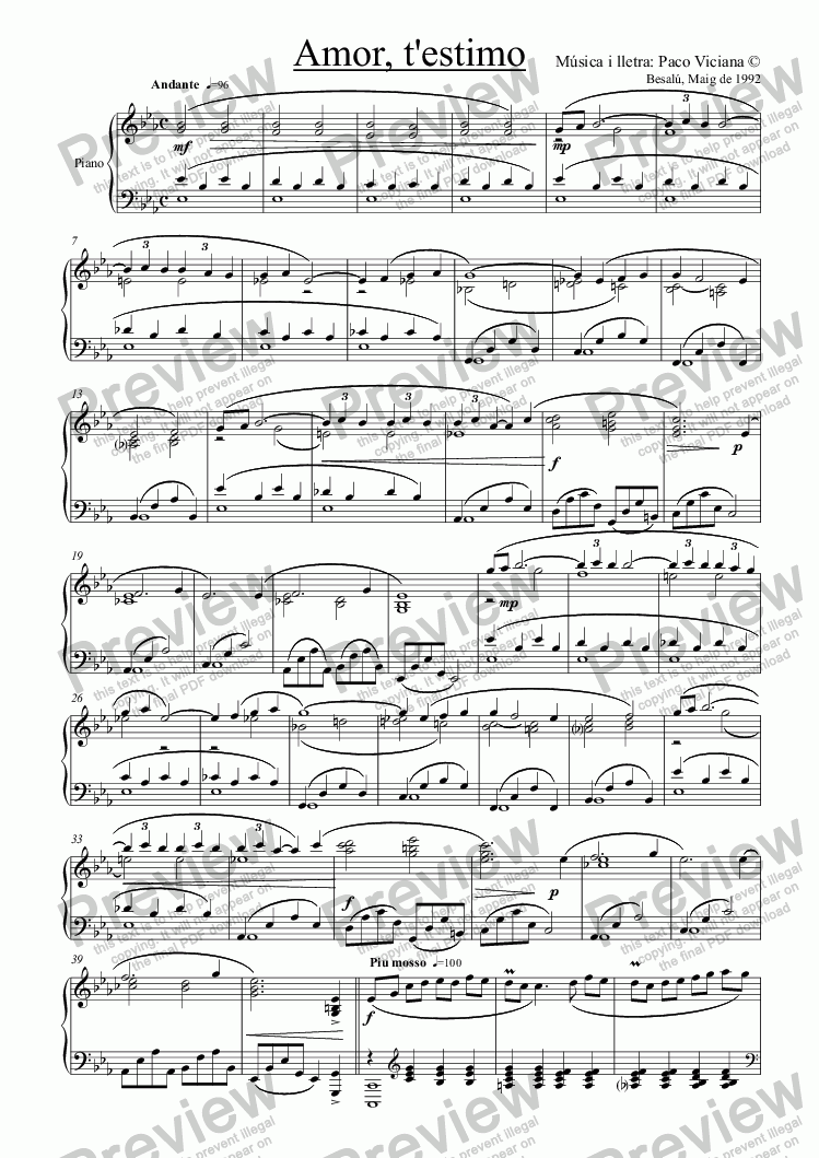 page one of 041-Amor, t'estimo (piano version)