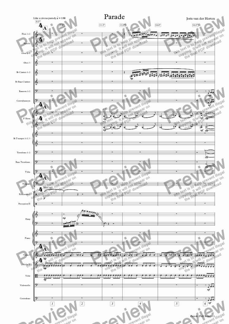 page one of Parade (orchestra)