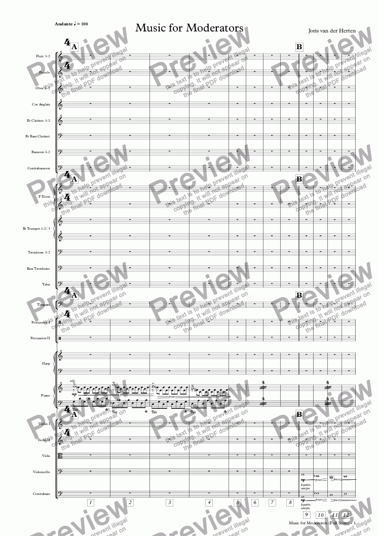 page one of Music for Moderators (orchestra)