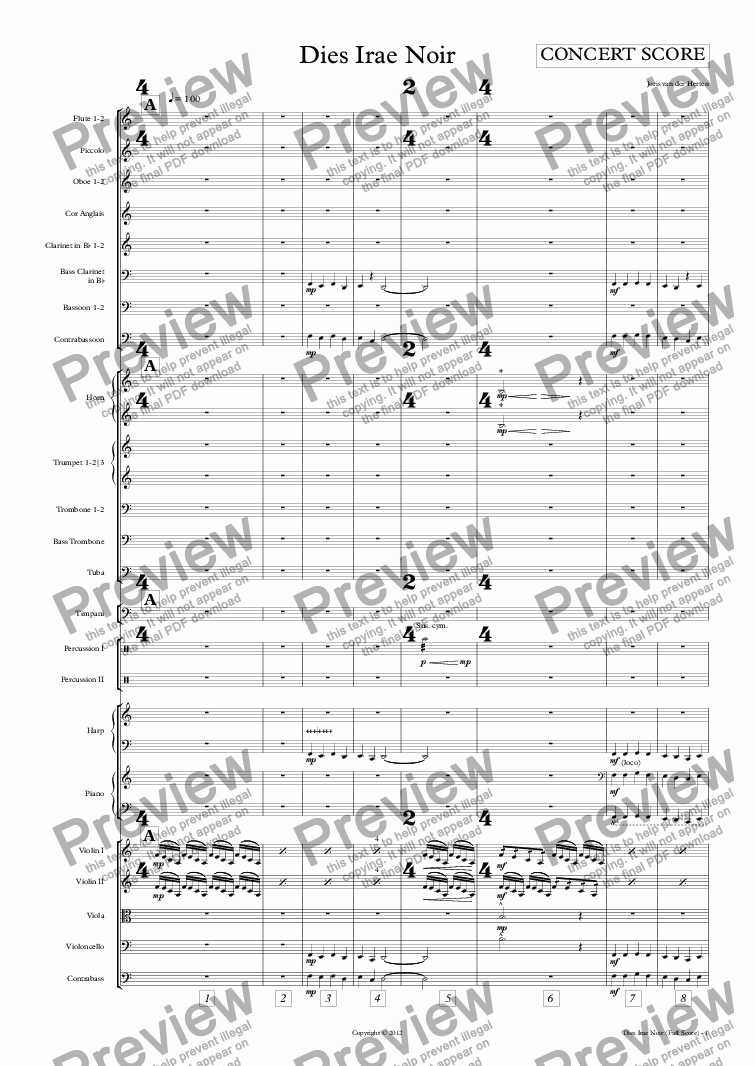 page one of Dies Irae Noir (orchestra)