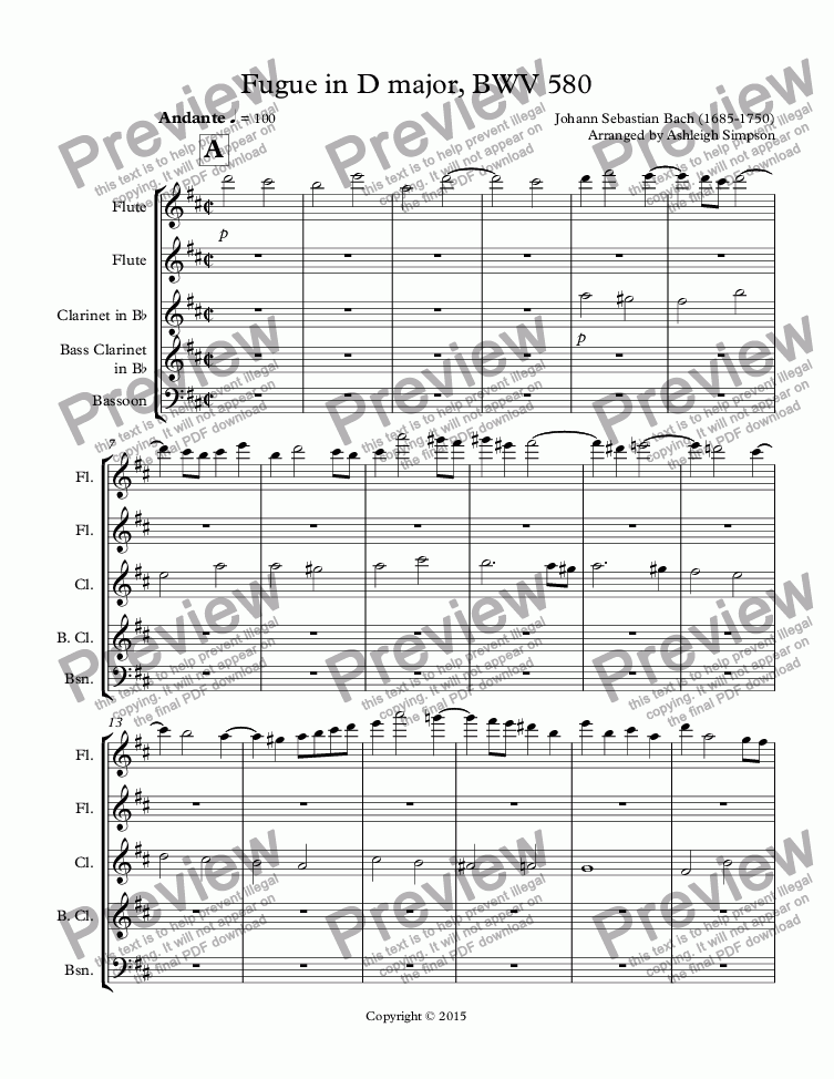 page one of Fugue in D major, BWV 580
