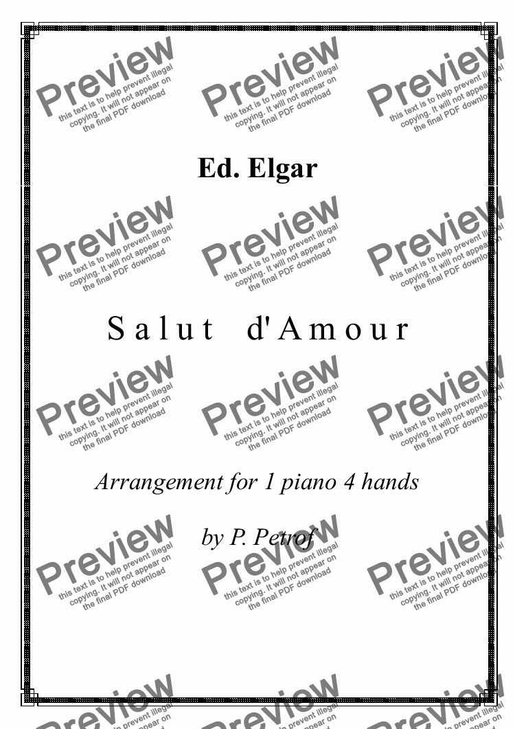 page one of E. Elgar - Salut d'Amour - piano 4 hands