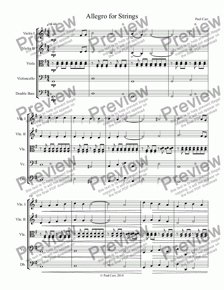 page one of Allegro for Strings