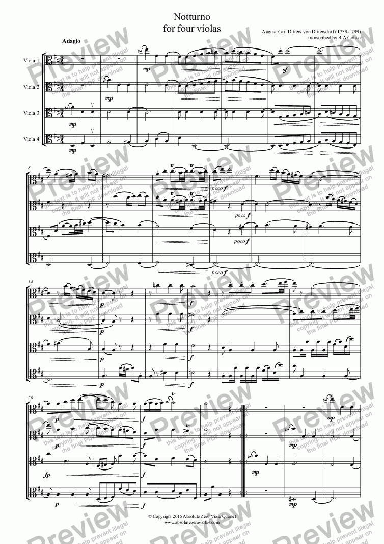 page one of Dittersdorf - NOTTURNO - for four violas