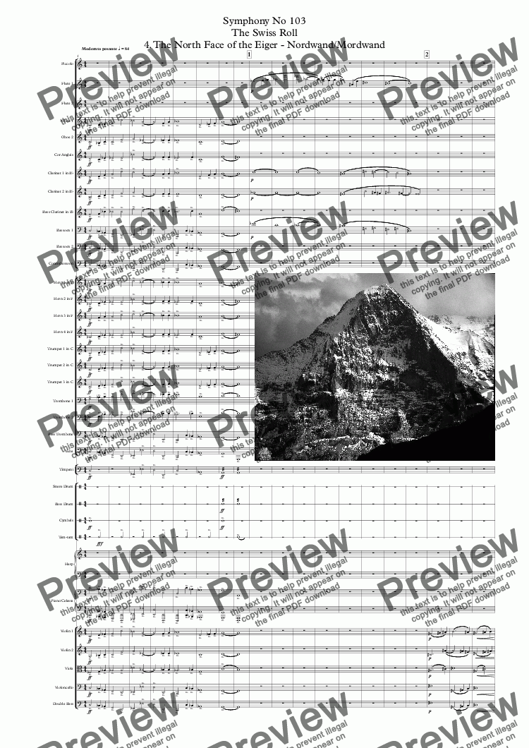 page one of Symphony No 103 The Swiss Roll 4th movt. The North Face of the Eiger - Nordwand/Mordwand