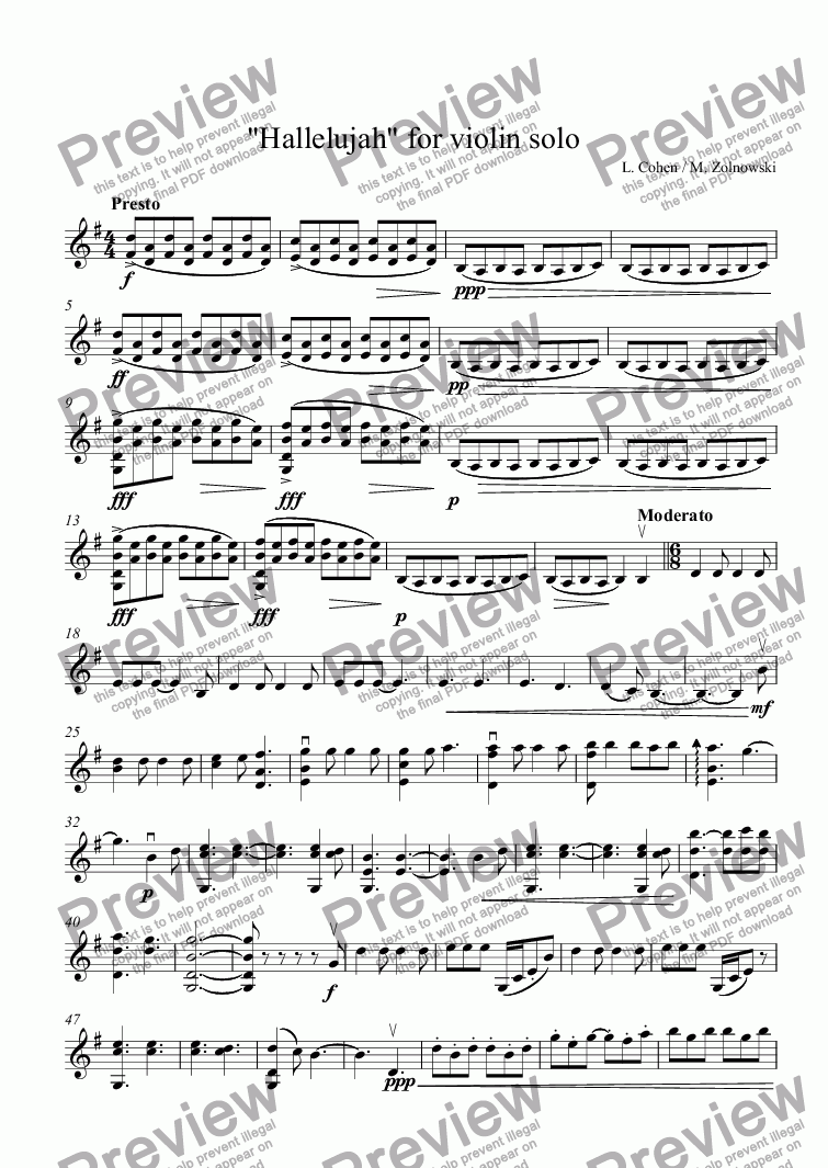 Hallelujah For Violin Solo For Solo Instrument Violin I By L Cohen M Zolnowski Sheet Music Pdf File To Download