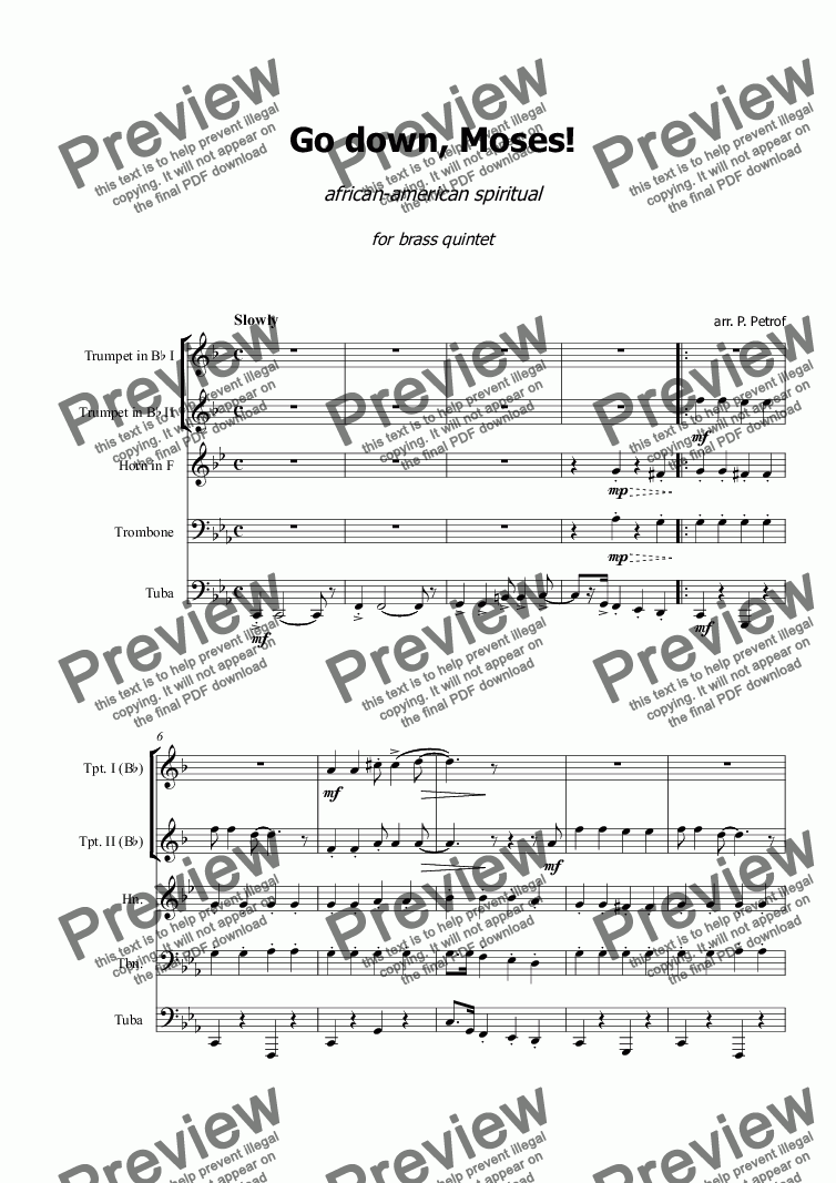 page one of Go down, Moses! - for brass quintet