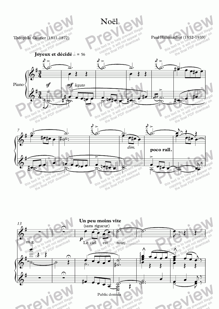 page one of Noël (Hillemacher / Th. Gautier)