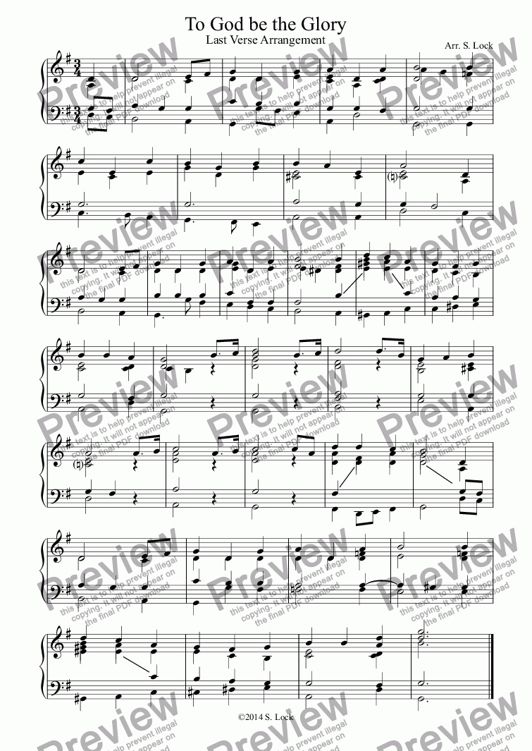 page one of To God be the Glory -  Last Verse Arrangement