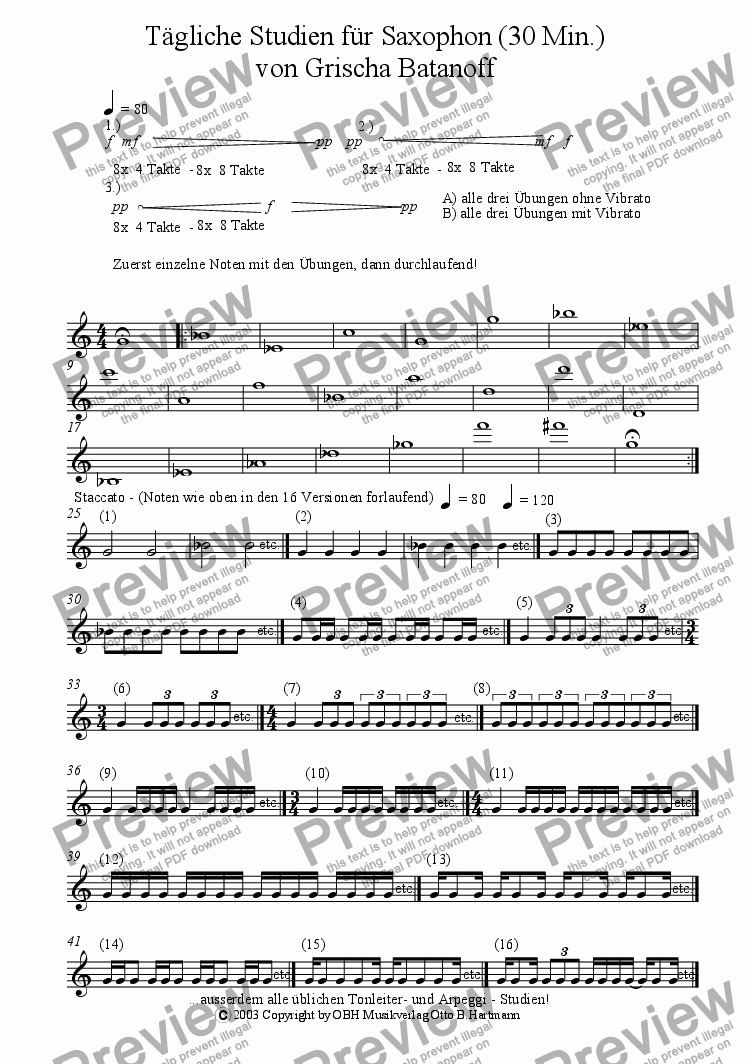 page one of Taegliche Studien fuer Saxophon