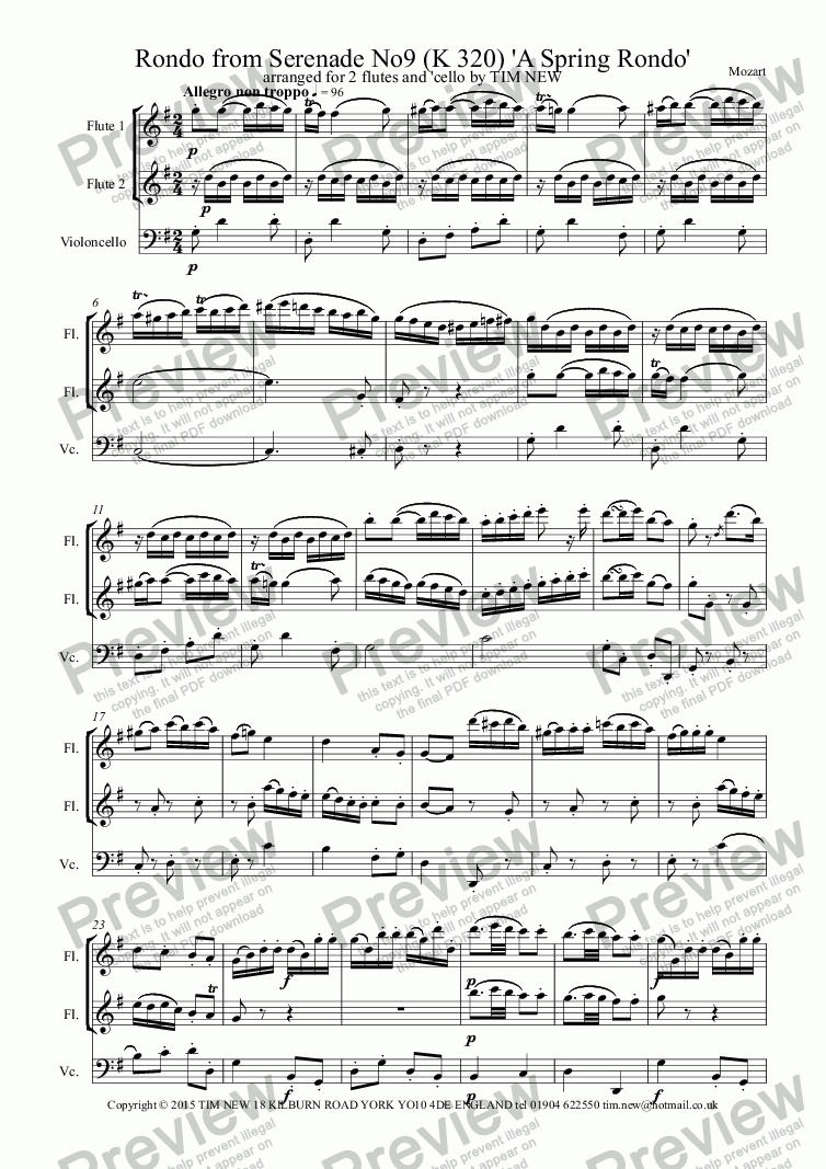 page one of Rondo from Serenade No9 (K 320) 'A Spring Rondo'ASALTTEXT