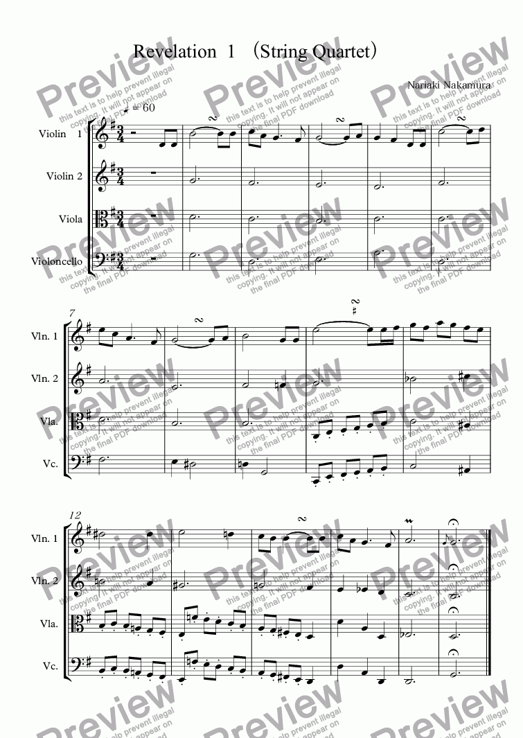 page one of Revelation  1 (String Quartet)
