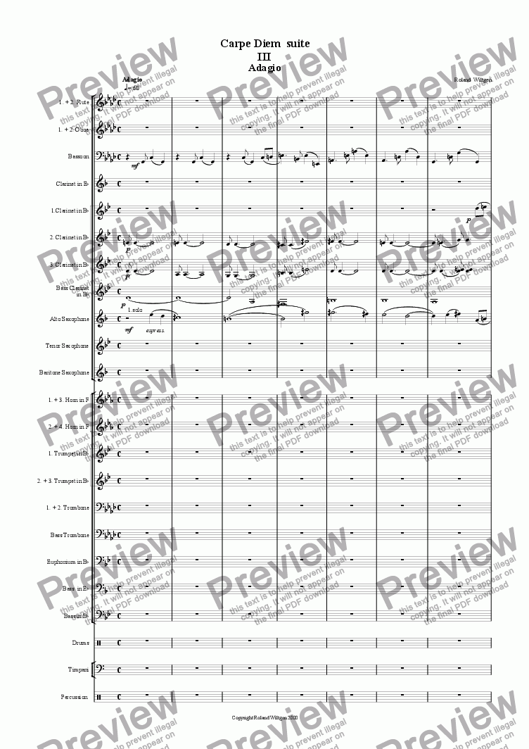 page one of Adagio (No.3 of Carpe Diem suite)