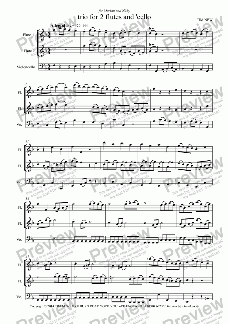page one of trio for 2 flutes and 'cello