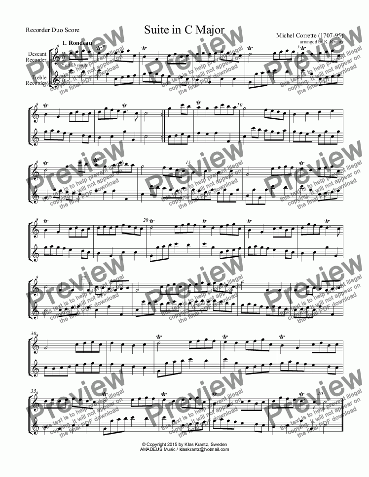 page one of Suite in C Major for recorder duo