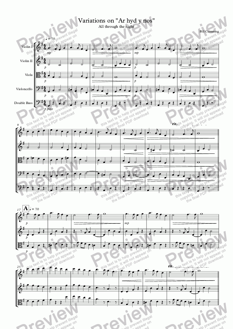 "page one of Variations on ""Ar hyd y nos"" for string orchestra"