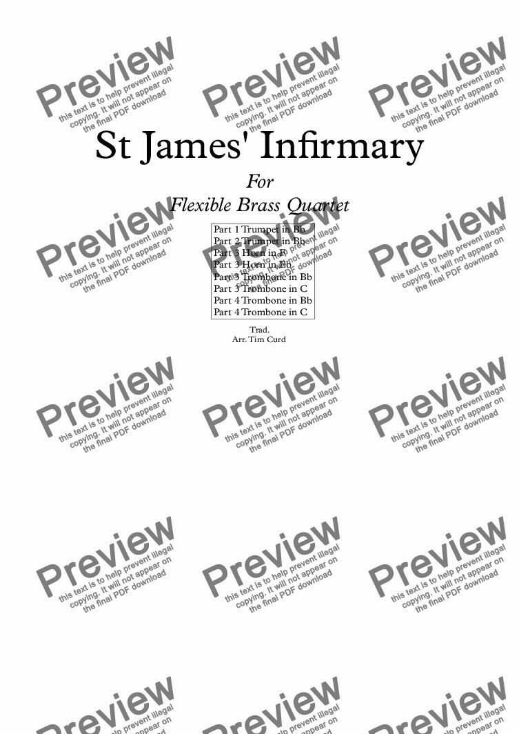 page one of St James' Infirmary. For Flexible Brass QuartetASALTTEXT