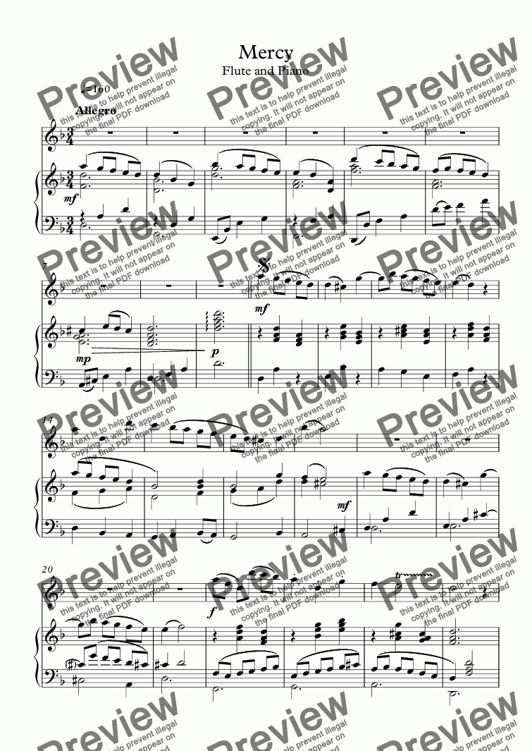 page one of Mercy - Flute solo
