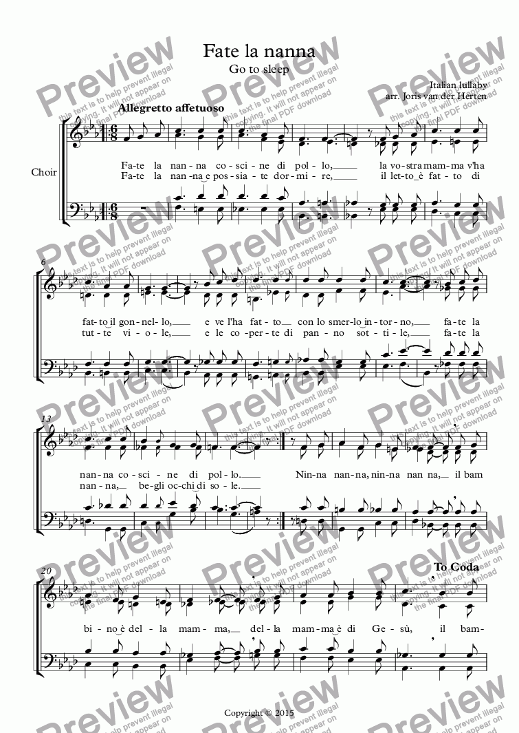 page one of Fate la nanna [Italian lullaby] (choir SATB)