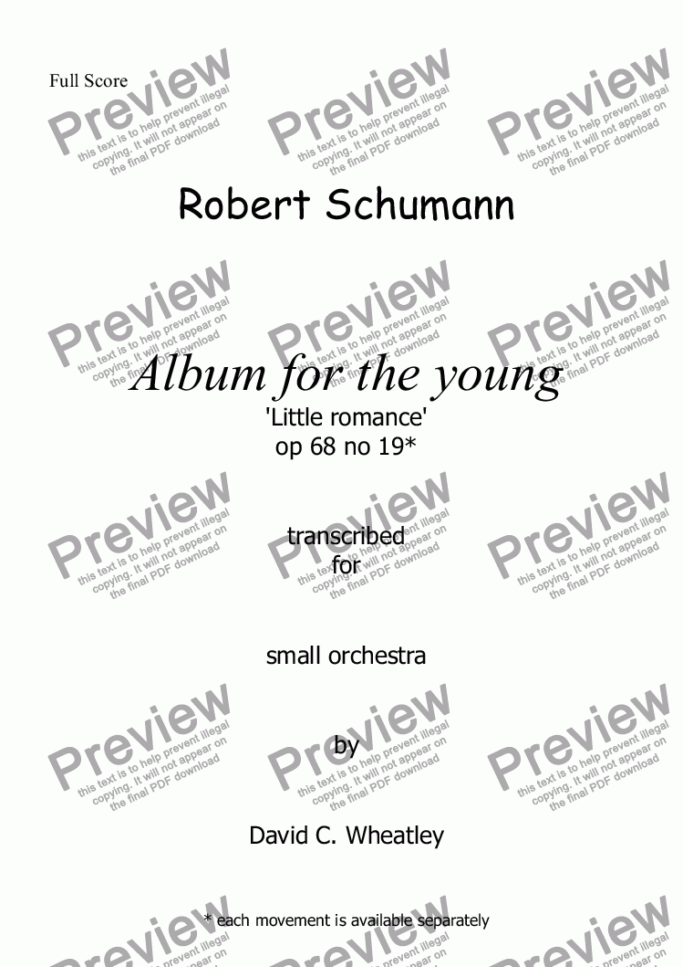 page one of Schumann Album for the young op 68 no 19 'Little Romance' for small orchestraASALTTEXT