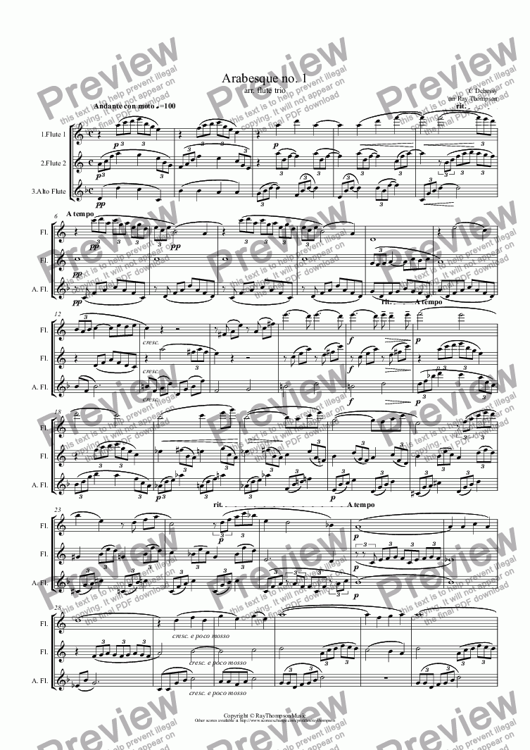 page one of Debussy: Arabesque no. 1 arr.flute trio