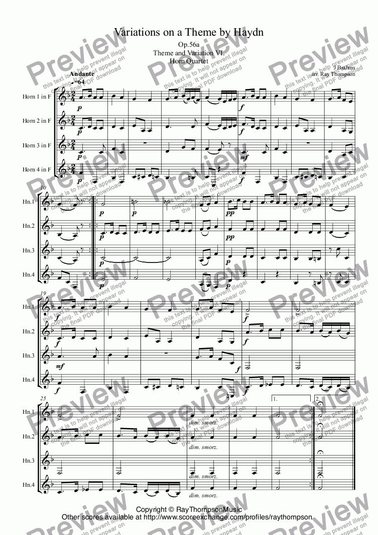 page one of Brahms:Variations on a Theme by Haydn (St.Anthony Chorale):Theme and Var.VI. arr.horn quartet