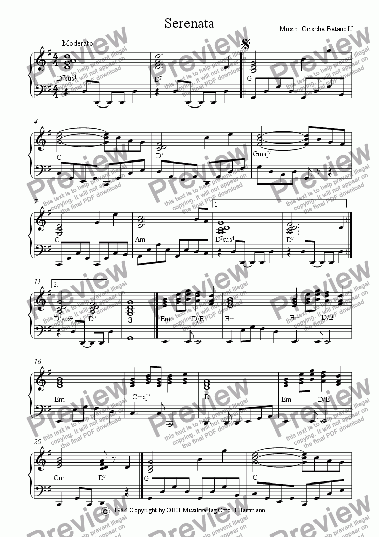 page one of Serenata