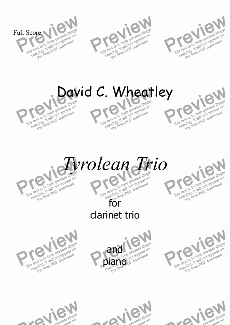 page one of Tyrolean Trio for clarinet trio and piano by David Wheatley