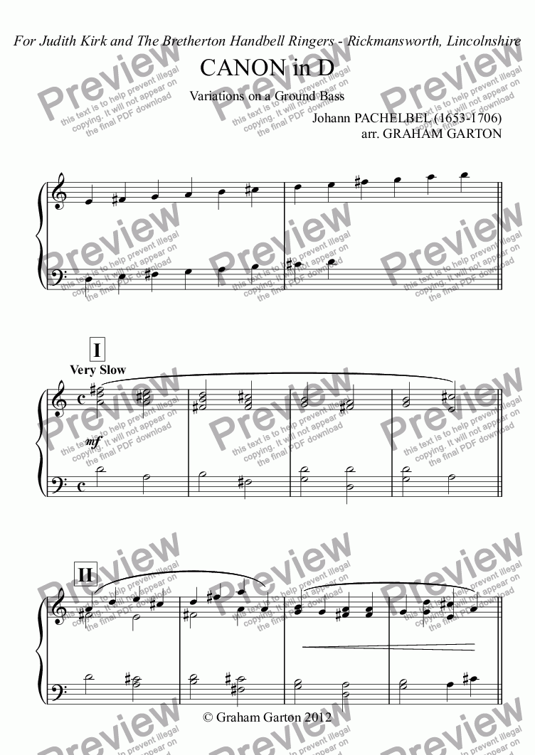 page one of PACHELBEL CANON in D arranged for Handbells 2 - pages - popular arrangement