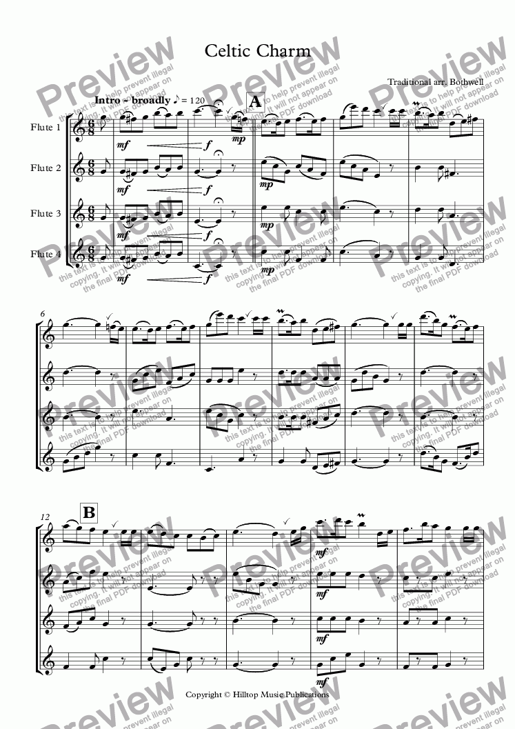 page one of Celtic Charm for four flutes