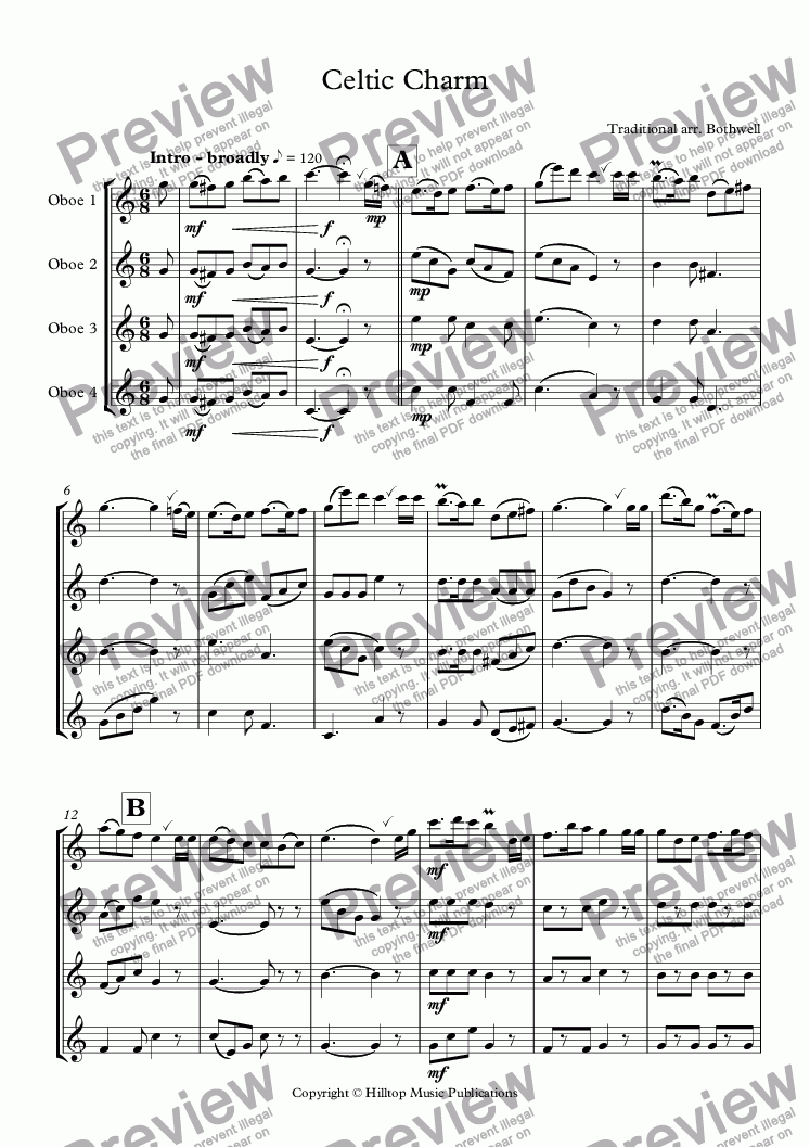 page one of Celtic Charm for four oboes