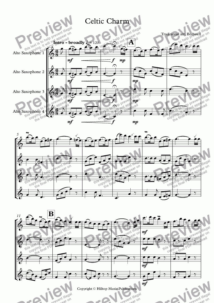 page one of Celtic Charm for four saxophones