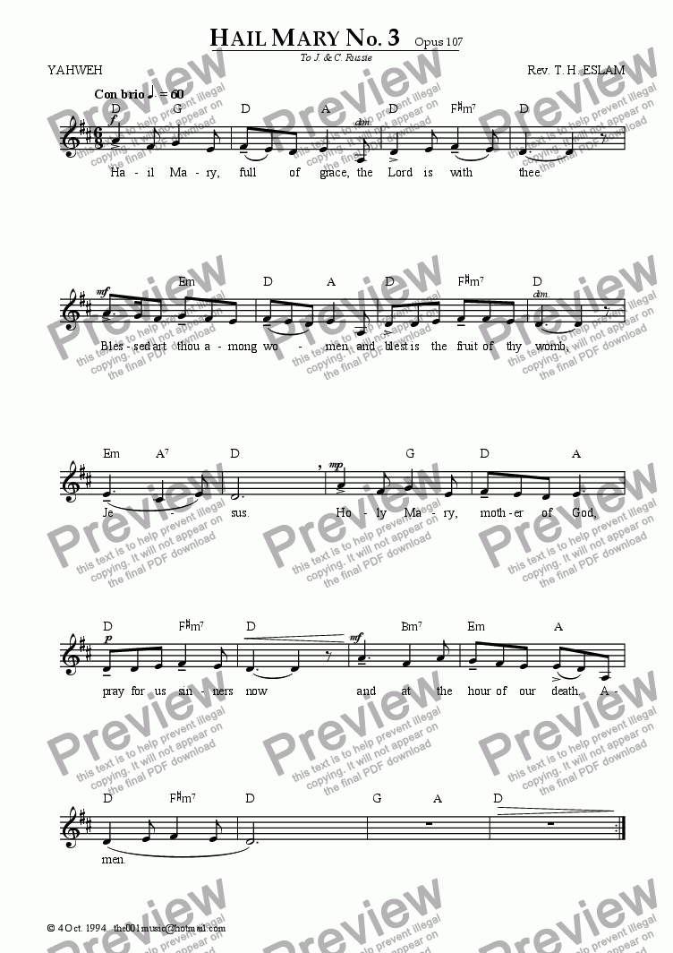 Hail Mary No  3 for Solo instrument (Voice) by Reverend T H  Eslam - Sheet  Music PDF file to download