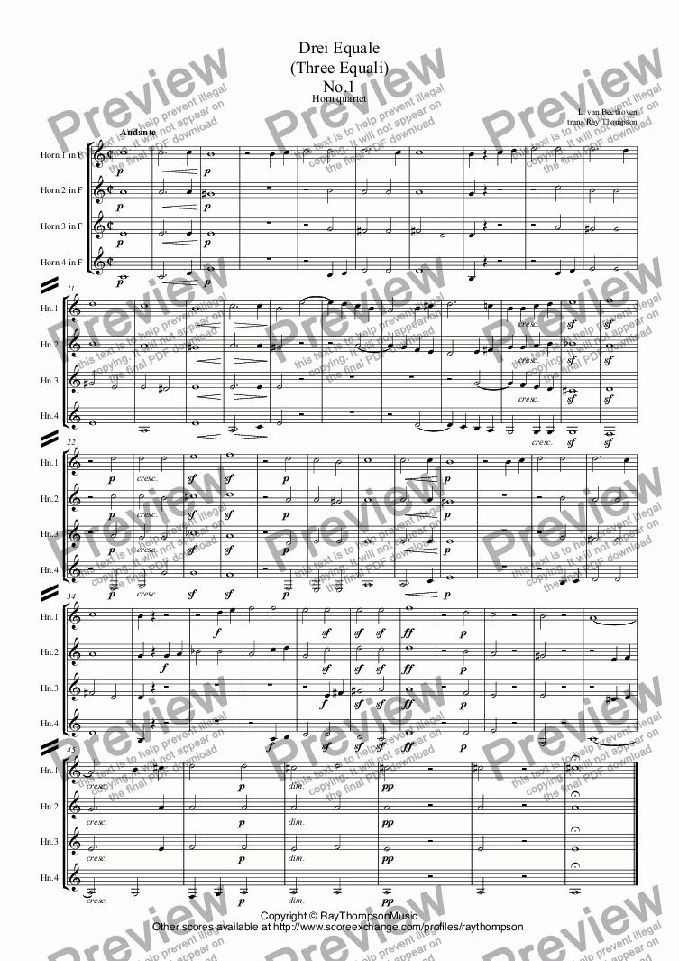 page one of Beethoven: Drei Equale (Three Equali) arr. horn quartet
