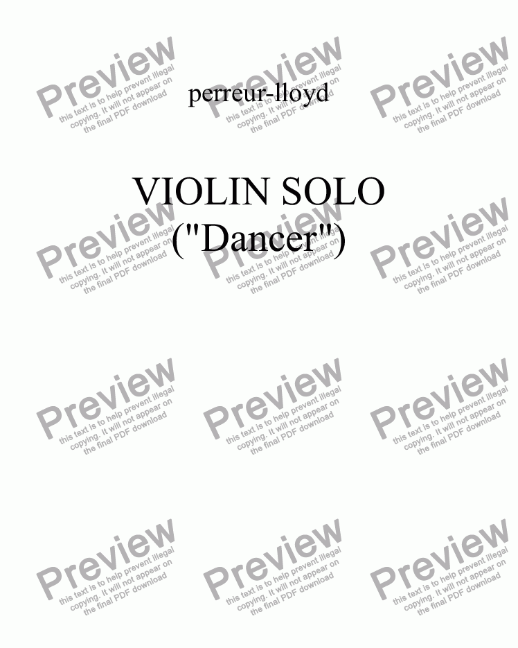 page one of SOLO VIOLIN 2014 ('Dancer')