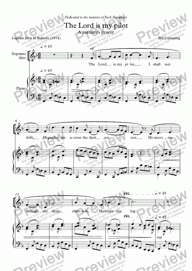 "page one of ""The Lord is my pilot"" for SATB choir & piano"